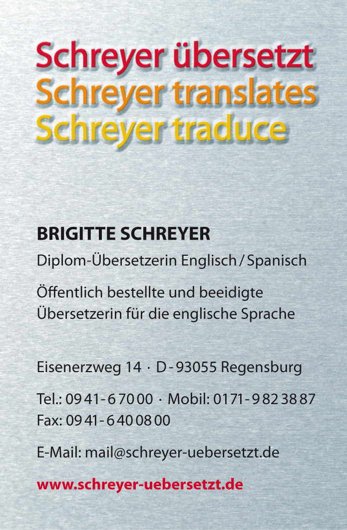 Schreyer übersetzt Corporate Design Briefbogen
