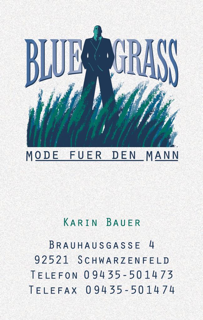 Blue Grass Mode fuer den Mann · Visitenkarte