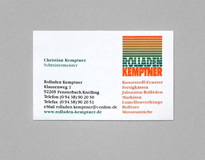 Rolladen Kemptner · Visitenkarte
