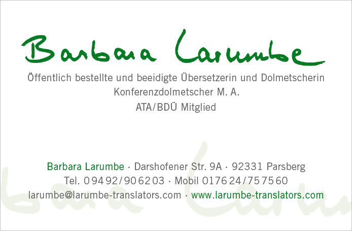 Larumbe · Visitenkarte