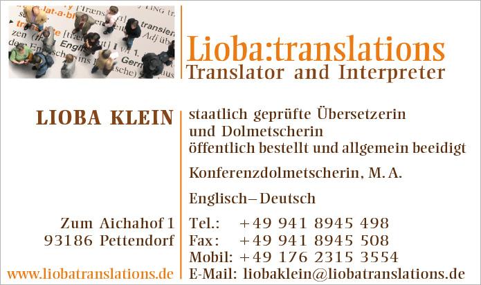 Lioba:translations · Visitenkarte