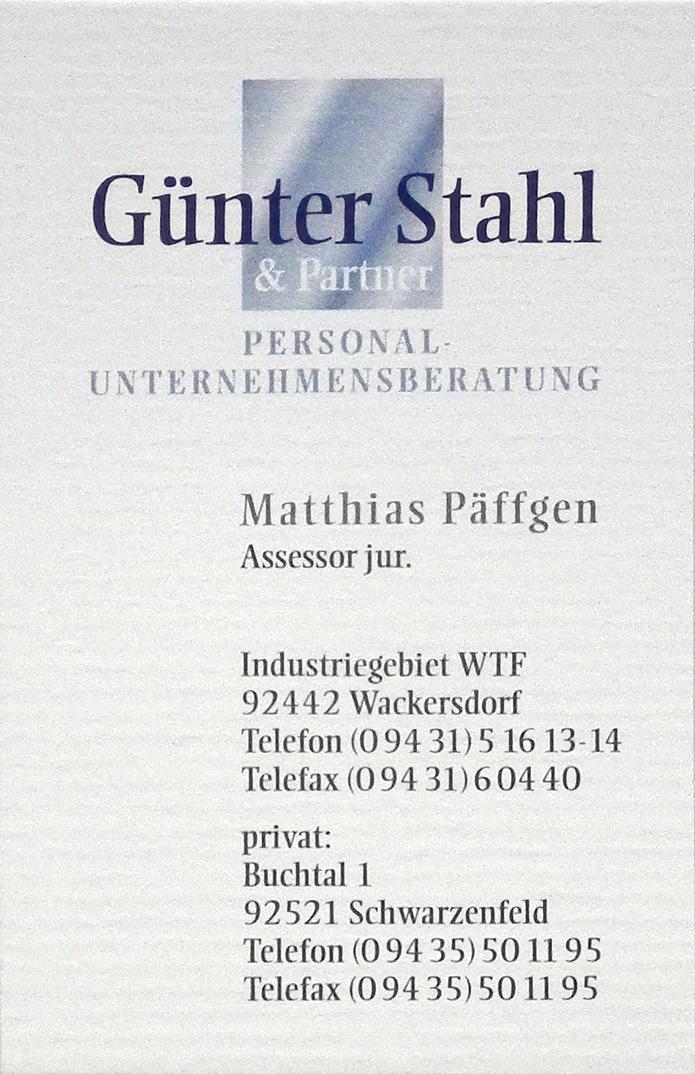 Stahl & Partner Personalberatung · Visitenkarte